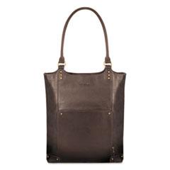 "Solo Executive Leather/Poly Bucket Tote, 16"", 15 1/2"" x 4 3/4"" x 17 1/4"", Espresso"