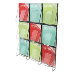 Multi-Pocket Wall-Mount Literature Systems, 27 1/2w x 35 5/8h, Clear/Black