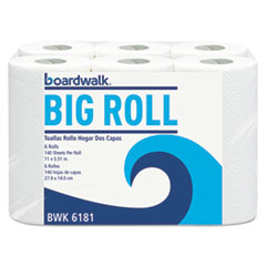 Boardwalk® Office Packs Perforated Paper Towel Rolls, 2-Ply, White, 5.5x11, 140/Roll, 24/Ct BWK6181CT