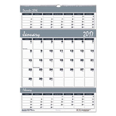 House of Doolittle™ Bar Harbor 100% Recycled Wirebound Three-Months-per-Page Wall Calendar Thumbnail