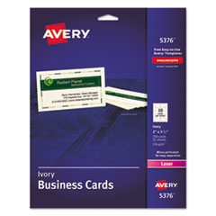 Avery® Printable Microperforated Business Cards with Sure Feed Technology, Laser, 2 x 3.5, Ivory, Uncoated, 250/Pack