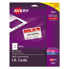 Avery® Laminated Laser/Inkjet ID Cards, 2 1/4 x 3 1/2, White, 30/Box