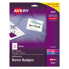 Flexible Adhesive Name Badge Labels, 2 1/3 x 3 3/8, White, 160/PK