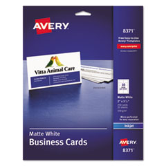 Avery® Printable Microperforated Business Cards with Sure Feed Technology, Inkjet, 2 x 3.5, White, Matte, 250/Pack