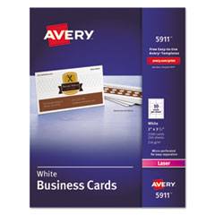 Avery® Printable Microperforated Business Cards with Sure Feed Technology, Laser, 2 x 3.5, White, Uncoated, 2500/Box