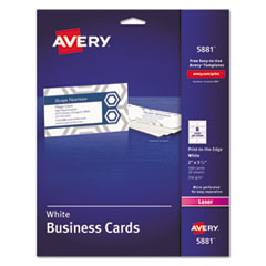 Avery® Print-to-the-Edge Microperforated Business Cards with Sure Feed Technology, Color Laser, 2 x 3.5, Wht, 160/Pk