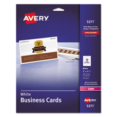 Avery® Printable Microperf Business Cards, Laser, 2 x 3 1/2, White, Uncoated, 250/Pack
