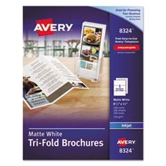 Avery® Tri-Fold Brochures for Inkjet Printers, 8 1/2 x 11, White, 100 Sheets/Box