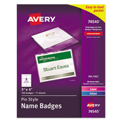 Pin-Style Badge Holder with Laser/Inkjet Insert, Top Load, 4 x 3, White, 100/Box