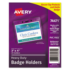Secure Top Heavy-Duty Badge Holders, Horizontal, 4w x 3h, Clear, 25/Pack