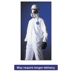 DuPont® Tyvek Elastic-Cuff Hooded Coveralls, HD Polyethylene, White, Large, 25/Carton DUPTY127SL