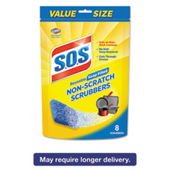 S.O.S.® Non-Scratch Soap Scrubbers, Blue, 8/Pack, 6 Packs/Carton CLO10005