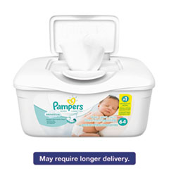 Pampers® Sensitive Baby Wipes, White, Cotton, Unscented, 64/Tub, 8 Tub/Carton PGC19505CT