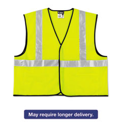 MCR™ Safety Class 2 Safety Vest, Lime Green w/Silver Stripe, Polyester, 3X-Large RVRVCL2SLX3