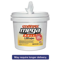 Image of Gym Wipes Mega Roll, 8 x 8, White, 1200 Wipes/Bucket, 2 Buckets/Carton Bathrooms & Accessories TXLL419 2XL
