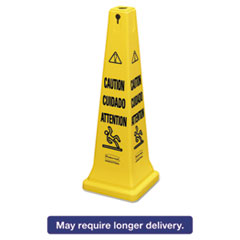 "Rubbermaid® Commercial Multilingual Safety Cone, ""CAUTION"", 12 1/4w x 12 1/4d x 36h, Yellow RCP6276YEL"