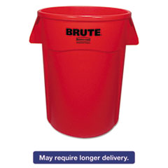 Rubbermaid® Commercial Brute Vented Trash Receptacle, Round, 44 gal, Red, 4/Carton RCP264360REDCT