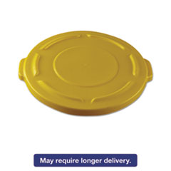 """Rubbermaid® Commercial Round Flat Top Lid, for 20-Gallon Round Brute Containers, 19 4/5"""", dia., Yell RCP261960YEL"""