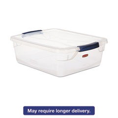 Rubbermaid® Clever Store Snap-Lid Container, 18 3/4 x 23 3/4 x 12 3/8, 71 qt, Clear, 4/CT RCP3Q34CLE