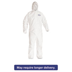KleenGuard* A40 Elastic-Cuff Hooded Coveralls, White, X-Large, 25/Case KCC44324
