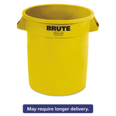 Rubbermaid® Commercial Round Brute Container, Plastic, 10 gal, Yellow, 6/Carton RCP2610YELCT