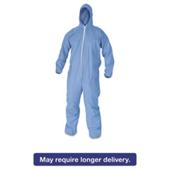 KleenGuard* A60 Elastic-Cuff & Back Hooded Coveralls, Blue, 2X-Large, 24/Case KCC45025