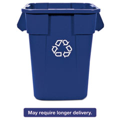 Rubbermaid® Commercial Brute Recycling Container, Square, Polyethylene, 40 gal, Blue RCP353673BLU