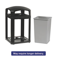 Rubbermaid® Commercial Landmark Series Classic Dome Top Container w/Ashtray, Plastic, 35 gal, Sable RCP397001SAB