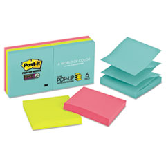 Post-it® Pop-up Notes Super Sticky Pop-up 3 x 3 Note Refill, Miami, 90/Pad, 6 Pads/Pack MMMR3306SSMIA
