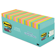 Post-it® Notes Super Sticky Pads in Miami Colors, 3 x 3, 70/Pad, 24 Pads/Pack