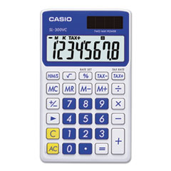 Casio® SL-300SVCBE Handheld Calculator, 8-Digit LCD, Blue