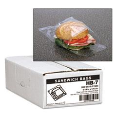 "Handi-Bag® Jumbo Sandwich Bags, 0.7 mil, 5.5"" x 6.25"", Clear, 3,000/Carton"