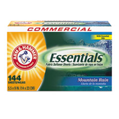 Arm & Hammer™ Essentials Dryer Sheets, Mountain Rain, 144 Sheets/Box, 6 Boxes/Carton