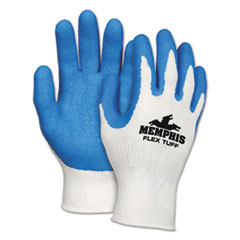 MCR™ Safety Flex Tuff Work Gloves, White/Blue, Medium, 10 gauge, 1 Dozen