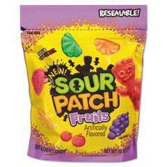 Sour Patch® Fruits Chewy Candy, Assorted Fruit Flavor, 10 oz Bag, 12/Carton