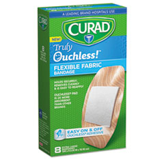 Curad® Ouchless Flex Fabric Bandages, 1.65 x 4, 8/Box