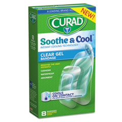Curad® Soothe & Cool Clear Gel Bandages, Assorted, Clear, 8/Box