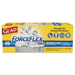 Glad® ForceFlex Medium Quick-Tie Trash Bags, 0.69 mil, 8 gal, White, 26/Box