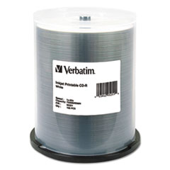 Verbatim® CD-R, 700MB, 52X, White Inkjet Printable, 100/PK Spindle