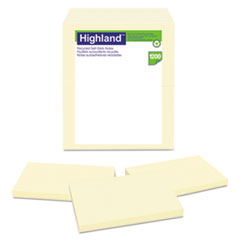 Highland™ Recycled Self Stick Notes, 3 x 5, Yellow, 100 Sheets/Pad, 12 Pads/Pack MMM6559RP