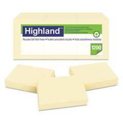 Highland™ Recycled Self-Stick Notes, 1 3/8 x 1 7/8, Yellow, 100 Sheets/Pad, 12 Pads/Pack