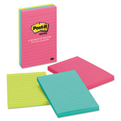 Post-it® Notes Original Pads in Cape Town Colors, Lined, 4 x 6, 100-Sheet, 3/Pack