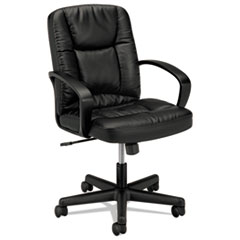 HON® HVL171 Executive Mid-Back Leather Chair, Supports up to 250 lbs., Black Seat/Black Back, Black Base
