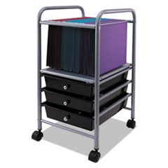 Vertiflex® Slim Profile Mobile File Cart, 13w x 15 3/4d x 26 1/4h, Black/Matte Gray