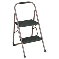 "Cosco® Big Step Folding Stool, 2-Step, 200 lb Capacity, 22"" Spread, Black/Gray"