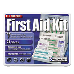 First Aid Only™ All-Purpose First Aid Kit, 21 Pieces, 4 3/4 x 3 x 1/2, Blue/White