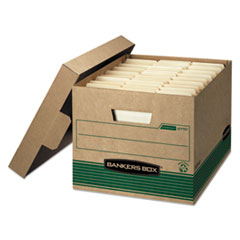 "Bankers Box® STOR/FILE Medium-Duty 100% Recycled Storage Boxes, Letter/Legal Files, 12.5"" x 16.25"" x 10.25"", Kraft/Green, 12/Carton"