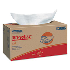 WypAll® L30 Towels, POP-UP Box, 10 x 9 4/5, White, 120/Box, 10 Boxes/Carton