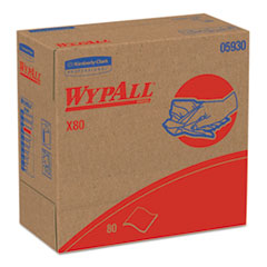 WypAll® X80 Cloths with HYDROKNIT, 9.1 x 16.8, Red, Pop-Up Box, 80/Box, 5 Box/Carton
