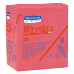WypAll® X80 Cloths, 1/4 Fold, HYDROKNIT, 12 1/2 x 12, Red, 50/Box, 4 Boxes/Carton